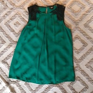 Green With Black Lace Mossimo Sleeveless Blouse
